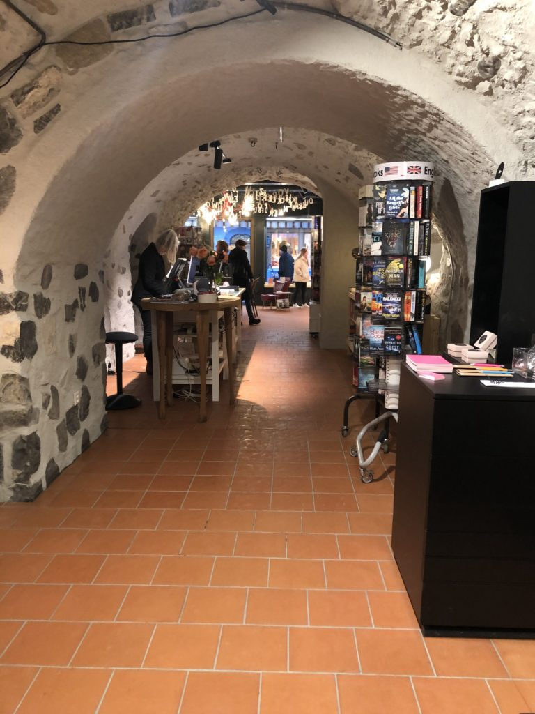 brick archway in the bookstore