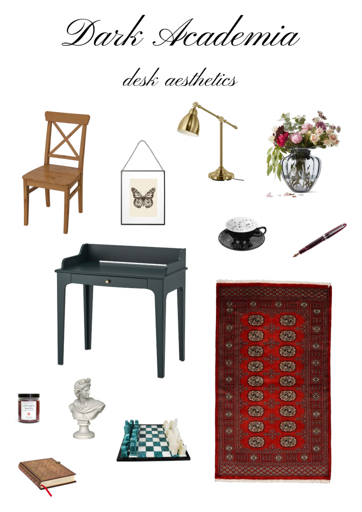 Mood board with letters dark academia desk aesthetics on top and various images below. There are tiny images of a wooden chair, golden lamp, vase with flowers, fountain pen, butterfly framed print, dark green desk, black and white teacup and saucer, red oriental rug, candle, book, greek statue, and a blue and white chess set.