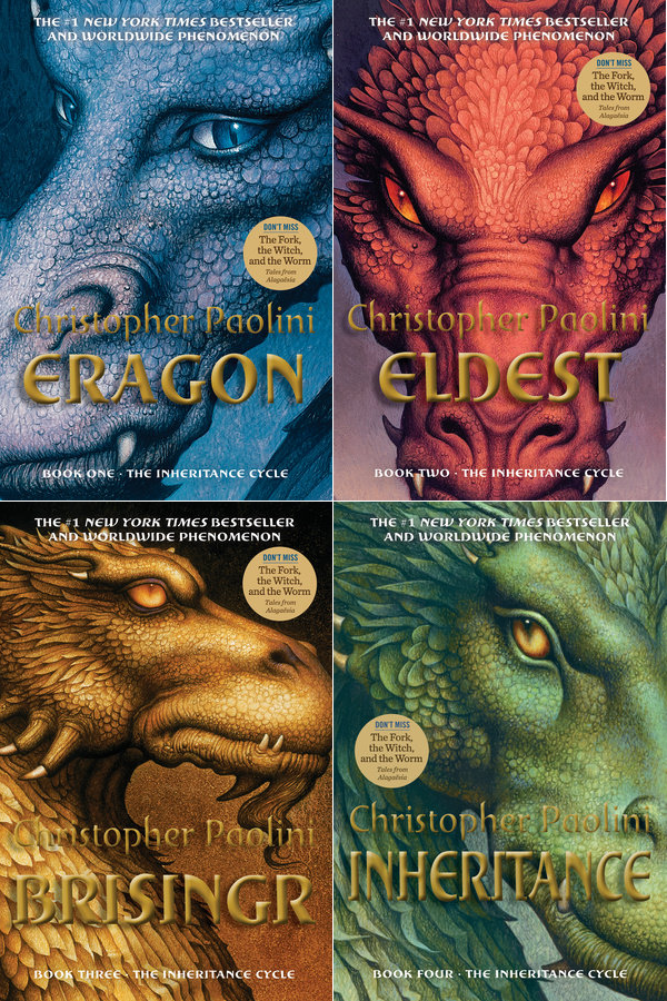 A picture of all four covers for the Inheritance Cycle. The upper left corner is Eragon book with a blue dragon on the corner, the upper right corner is Eldest book with a red dragon on the cover, the bottom left corner is Brisingr book with a golden dragon on the cover and the bottom right corner is Inheritance book with a green dragon on the cover. All four covers are combined into one picture.