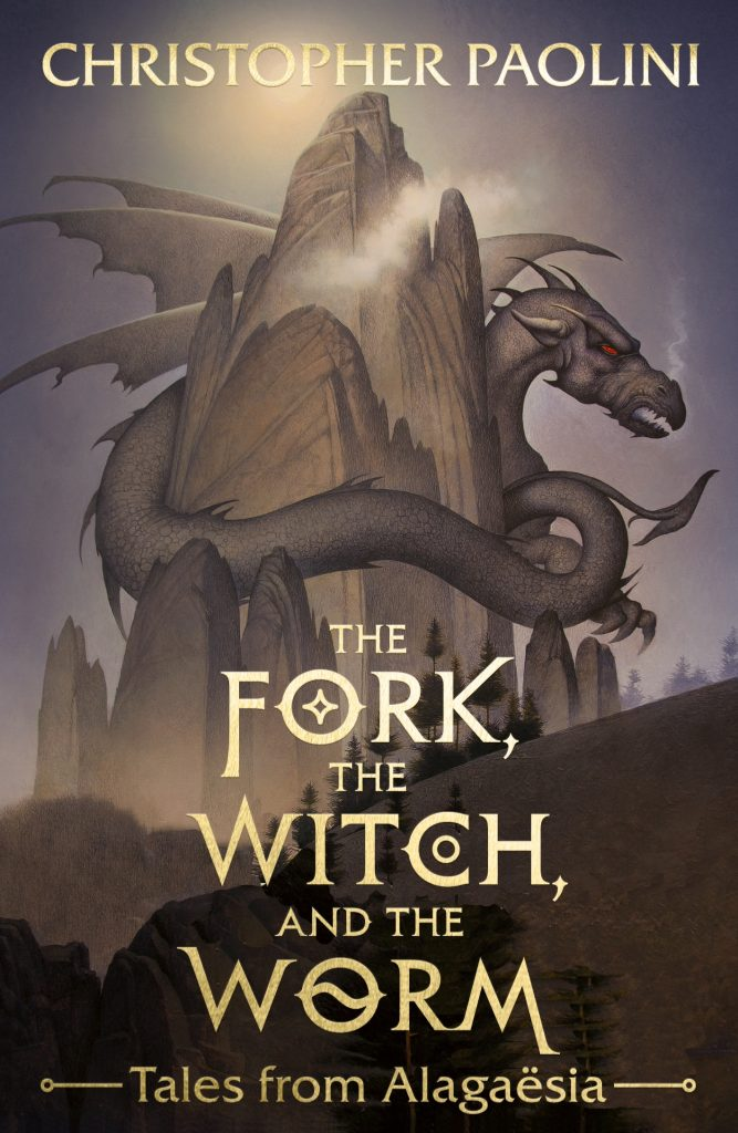 Cover for the book The fork, the witch and the worm. On the grey brown cover is dragon wrapped around the mountain. The letters of the title are pale gold color.